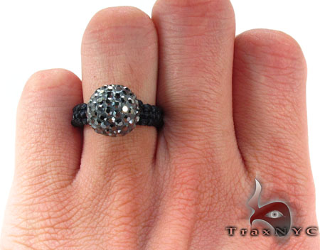 Rope Black Crystal Ring Anniversary/Fashion