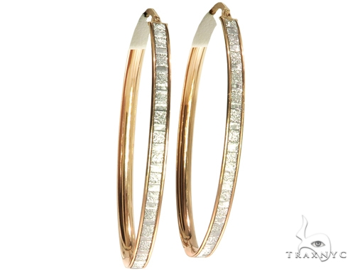 Rose 14K Gold Hoop Earrings 56920 10k, 14k, 18k Gold Earrings