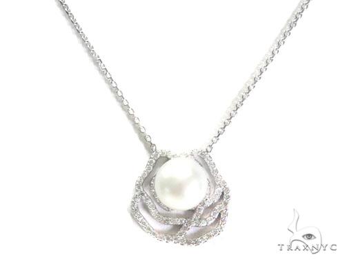 Rose Diamond Pearl Necklace 44602 Diamond