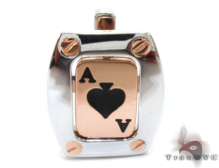 Baraka Rose Gold & Steel Ace of Spades Cufflink Metal