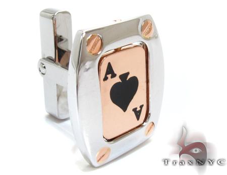 Baraka Rose Gold & Steel Ace of Spades Cufflink Metal