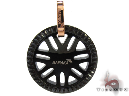 Baraka Rose Gold & Stainless Steel Sunburst Pendant Metal