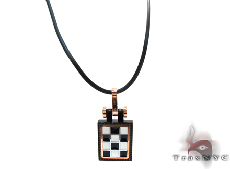 Baraka Rose Gold & Stainless Steel Check Pendant Metal