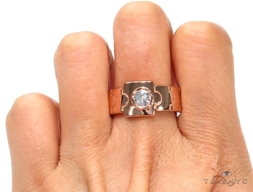 Rose Gold Link Ring 42774 Stone
