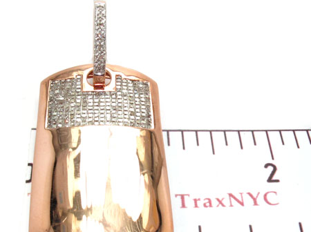 Rose Gold Princess Round Cut Invisible Prong Diamond Dog Tag Style