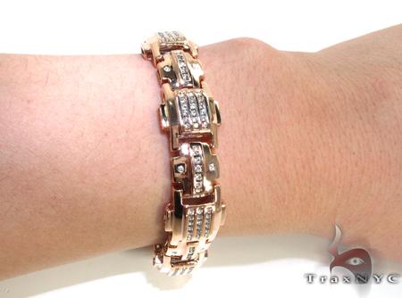 Rose Gold Round Cut Bezel Channel Bracelet Diamond