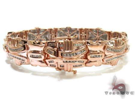Rose Gold Round Cut Channel Diamond Bracelet Diamond