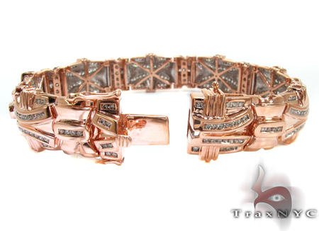 Rose Gold Round Cut Channel Diamond Bracelet Diamond