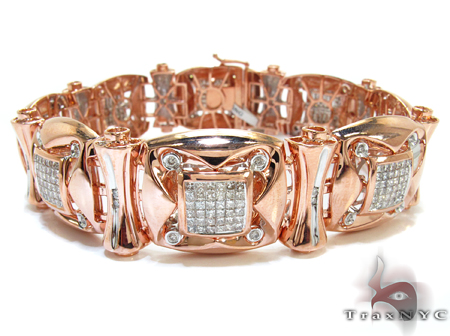 Rose Gold Round Princess Cut Bezel Invisible Diamond Bracelet Diamond