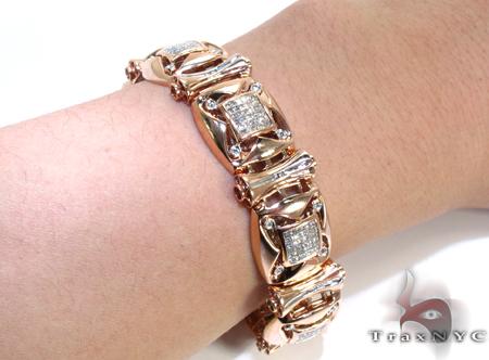Rose Gold Round Princess Cut Bezel Invisible Diamond Bracelet Diamond