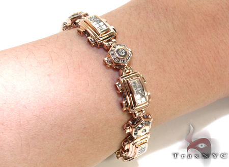 Rose Gold Round Princess Cut Channel Bezel Invisible Diamond Bracelet Diamond