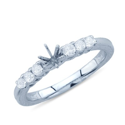 Round Cut Six Stone Diamond Semi Mount ring In 14K White Gold Engagement