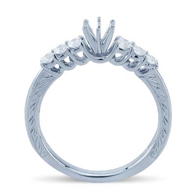 Round Cut Six Stone Diamond Semi Mount ring In 14K White Gold Engagement