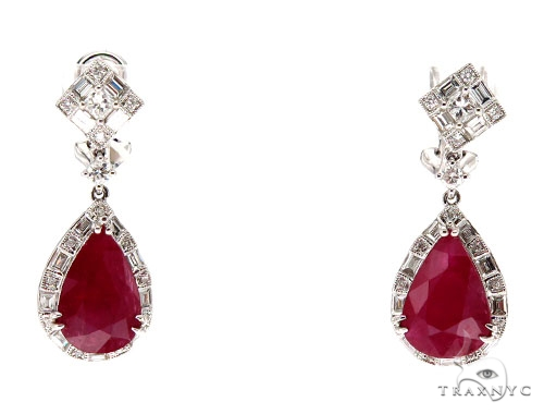 Ruby Diamond Earrings 42426 Stone