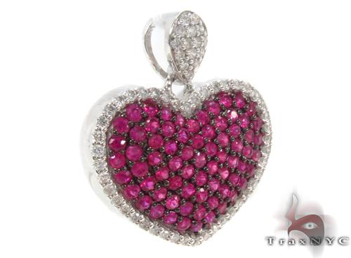 Pink Ruby & Diamond Heart Pendant 34031 Style