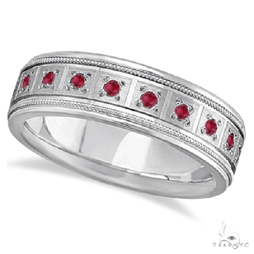 Ruby Ring for Men Wedding Band 14k White Gold Stone