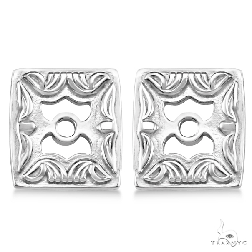 Scrollwork Fashion Earring Jackets in Plain Metal 14k White Gold Metal
