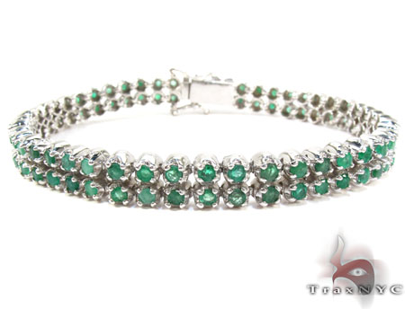 Silver 2 Row Emerald  Bracelet Silver