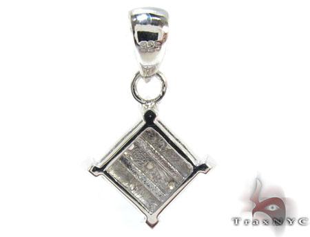 Silver Bezel Diamond Square Pendant Metal