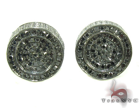 Silver Black Diamond Earrings 28525 Stone