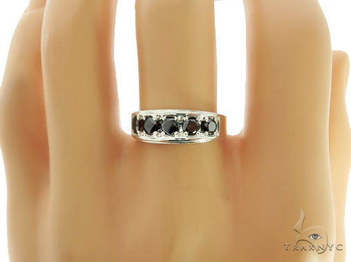 Silver Black Diamond Ring 57037 Stone