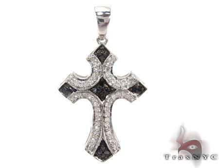 Silver Black and White Color Diamond Cross 28842 Silver