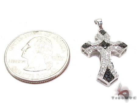 Silver Black and White Color Diamond Cross 28842 Silver