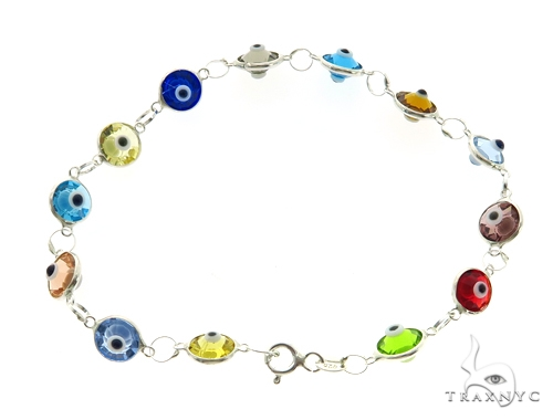 Silver CZ  Evil Eye Bracelet 43252 Silver & Stainless Steel