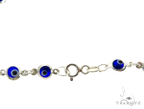 Silver CZ  Evil Eye Mini Bracelet 43247 Silver & Stainless Steel