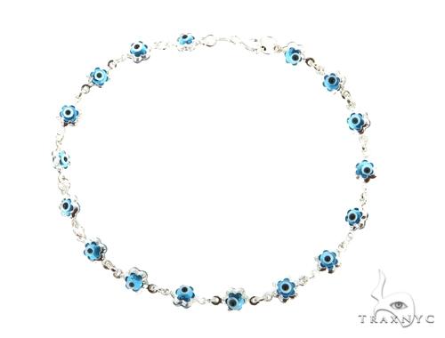 Silver CZ  Evil Eye Flower Bracelet 43254 Silver & Stainless Steel