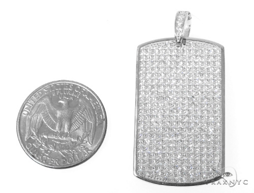 Silver CZ Dog Tag Pendant 48957 Metal