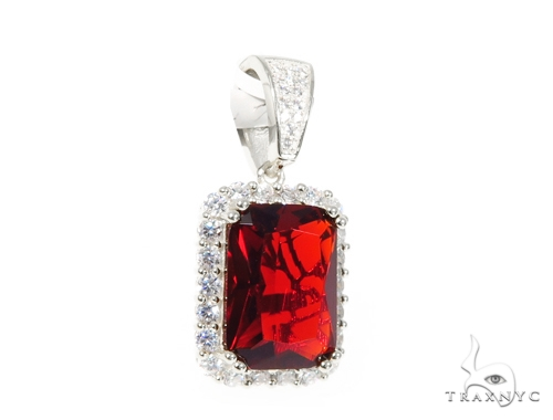 Silver CZ Hot Mini Red Gemstone Pendant 43218 Metal