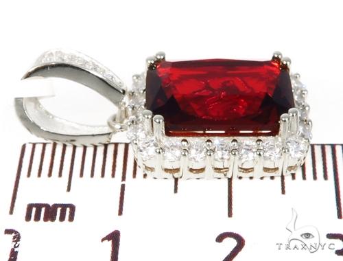 Silver CZ Hot Mini Red Gemstone Pendant 43218 Metal