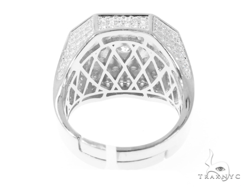 Silver CZ Men's Flower Ring 49033 Metal
