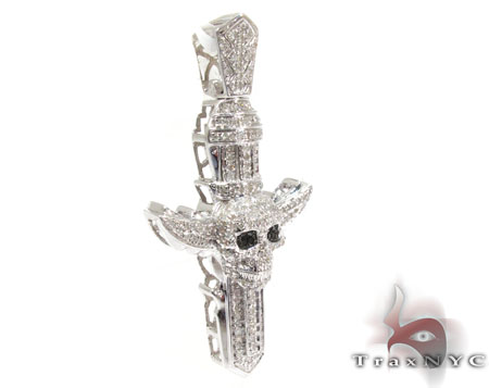 Silver Diamond Skull Cross Pendant 25568 Silver