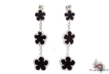 Silver Flower Chandelier Earrings 31428 Metal