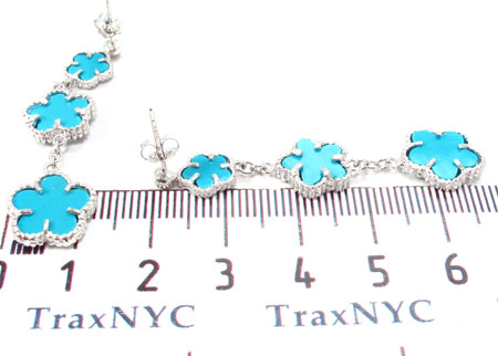 Silver Flower Chandelier Earrings 31429 Metal