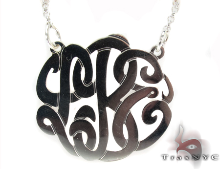 Silver Name Plate Monogram Necklace 30995 シルバーネックレス