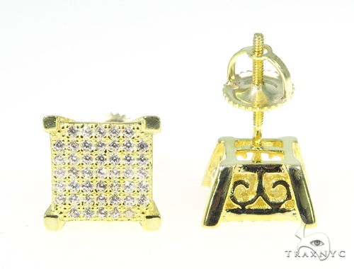 Square Silver Earrings 45027 Metal