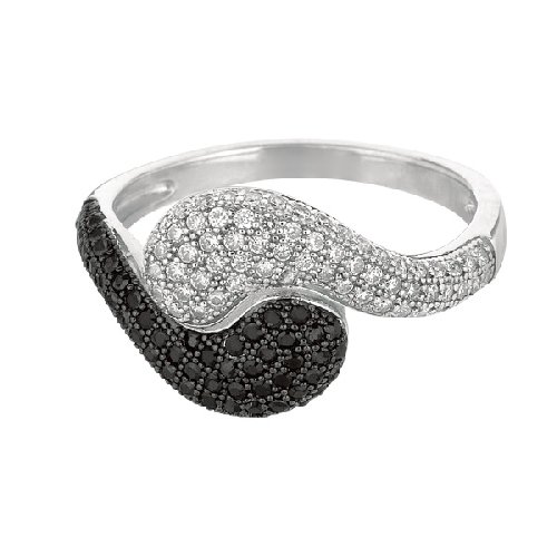 Silver Rhodium Finish Shiny Fancy By Pass Type Size 6 Ring Anniversary/Fashion
