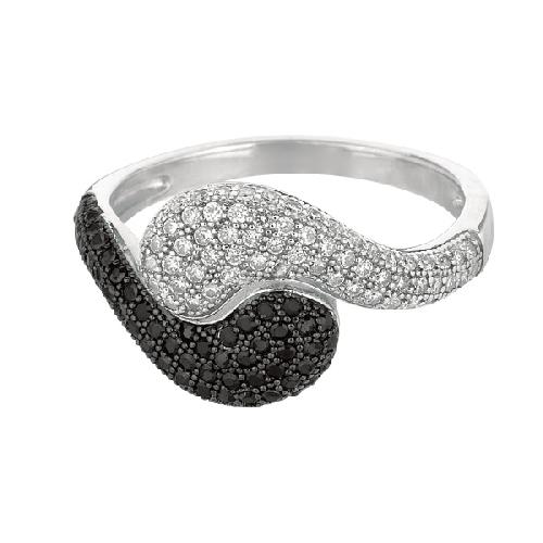 Silver Rhodium Finish Shiny Fancy By Pass Type Size 8 Ring Anniversary/Fashion