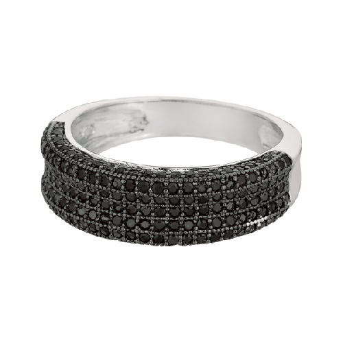 Silver Rhodium Finish Shiny Fancy Concave Band Type Size 6 Ring Anniversary/Fashion