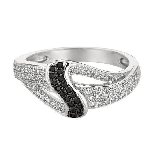 Silver Rhodium Finish Shiny Fancy Loop Top Size 6 Ring Anniversary/Fashion