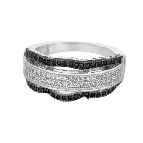 Silver Rhodium Finish Shiny Fancy Wavey Band Type Size 7 Ring Anniversary/Fashion