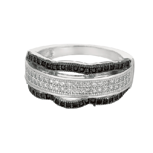 Silver Rhodium Finish Shiny Fancy Wavey Band Type Size 9 Ring Anniversary/Fashion