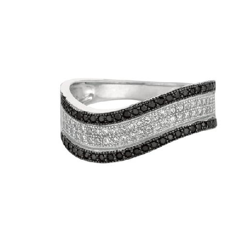 Silver Rhodium Finish Shiny Graduated Twisted Band Type Size 7 Ring Anniversary/Fashion