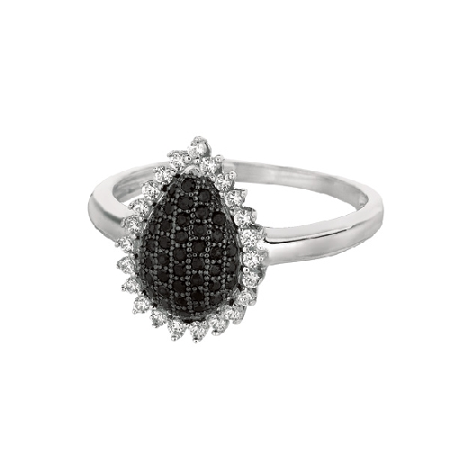 Silver Rhodium Finish Shiny Teardrop Shape Top Size 6 Ring Anniversary/Fashion