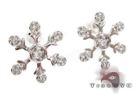 CZ Silver Snow Flake Earrings 31430 Metal