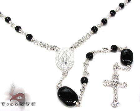 Silver and Onyx Rosary n 27 Grams Silver