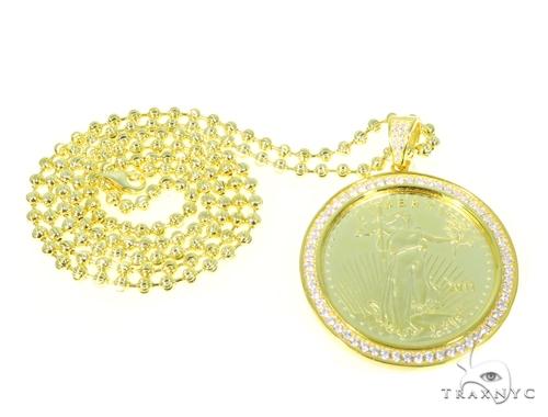Coin Silver Pendant Moon Cut Chain Set 45023 Metal